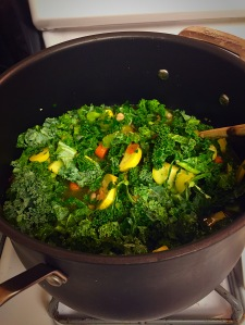 detox soup cooking with kale