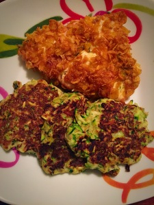 honey crusted chicken and zucchini fritters