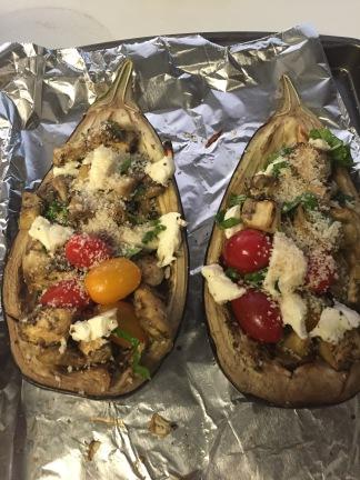 Caprese Stuffed Eggplant with Roasted Fennel Salad Stuffed Eggplant