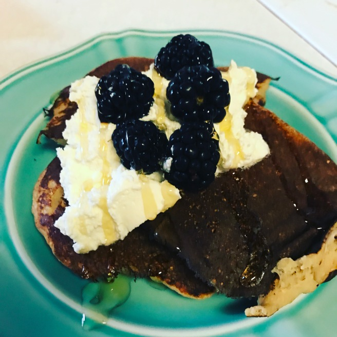 Oatmeal Banana Pancakes with freshly whipped cream, blackberries, and a drizzle of honey.JPG